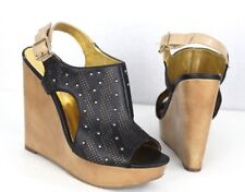 Carlos by Carlos Santana Catalonia wedge sandals black studded size 7.5