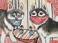 Alaskan Klee Kai Quarantine 5 x 7 Art Print Signed by Artist KSams Vintage Style