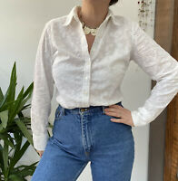 M&S White Broderie Anglaise Long Sleeve Button Through Shirt Blouse Sz 10 12