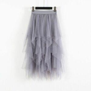 Women Sheer Tutu-Tulle Skirt Mesh Layered Elastic Waist Ballet Prom Party Dress