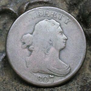 1807 US Half Cent - RARE - mis-strike reverse struck over obverse