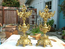 19Thc. Pair Ornate Brass Candelabras As Found Missing Tops