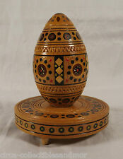 Russian Egg Carved Inlaid Wood Base Sticker Easter Collectible Hand Made