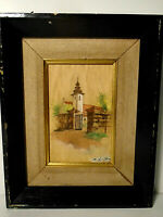 Antique Miniature Painting Church? signed framed
