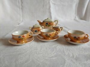 Vintage Lustreware Childs Tea Set Japanese 14 piece partial set