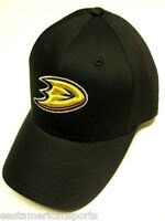 Anaheim Mighty Ducks NHL Reebok Black w/ Logo Hat Cap Structured OSFA Adjustable