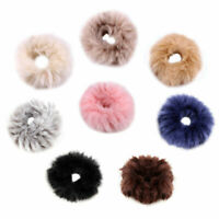 Girls Solid Color Fluffy Faux Fur Furry Scrunchie Elastic Hair Ring Rope Band