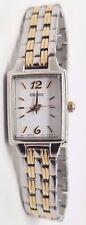 Ladies Seiko Square Gold Silver Stainless Steel White Dial Watch SXGL59