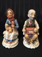 """Cute VTG Porcelain """"Old Man w/ Victrola & Old Woman w/ Cat"""" Figurines Marked """"P"""""""