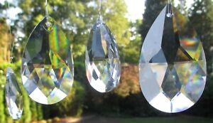 5 Wachteln Kristallanhänger 50 x 29 mm. 30%Pho Lüstersteine, Fensterschmuck, #53