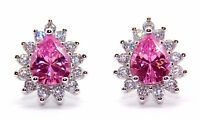 Sterling Silver Pink Sapphire And Diamond 2.98ct Stud Earrings (925)