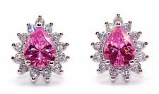 Sterling Silver Pink Sapphire And Diamond 2.98ct Stud Earrings (925) Free Box