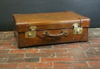 Exquisite Solid Leather Antique English Suitcase