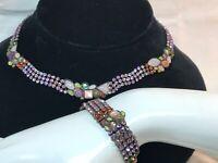 Vintage Sorelli Demi Parure Unakite Rhinestone & Shell Necklace/Bracelet Set