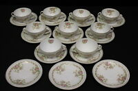 21pc ZS & Co Porcelain MIGNON Rose Bouillon Cream Soup Cup & Saucer Set, Bavaria