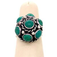 VTG Mexico Taxco Hallmarked Sterling Silver & Turquoise Dome Size 7.5 Ring! 181