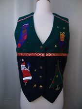 Karen Scott Ugly Tacky Christmas Vest Santa & Tree Size Medium Acrylic #1703