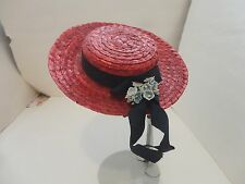 CUTE VINTAGE RED W FLORAL RIBBON TRIM DOLL HAT