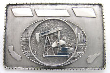 STERLING SILVER OIL RIG, OIL WELL, BELT BUCKLE CUSTOM TEXAS LARGE MOVING OIL RIG
