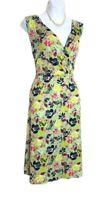 Joe Browns Tea dress size 18 floral green blue 40s vintage style flattering VGC