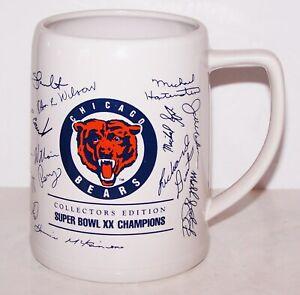 FABULOUS 1986 NFL CHICAGO BEARS SUPER BOWL XX AUTOGRAPHS COLLECTORS EDITION MUG