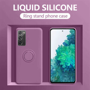 For Samsung Galaxy S20 Note 20 S10 S9 Plus Soft Silicone Ring Stand Case Cover