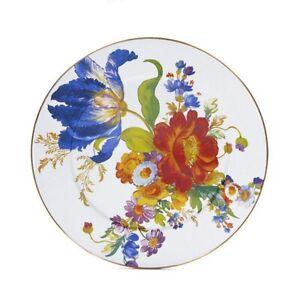 """MacKenzie-Childs Flower Market Enamel Serving Platter - White 16"""" dia."""