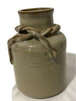 """Vintage Antique Brown Grey Glazed Pottery Crock Jug Pot Vase 7"""" Artist Signed"""