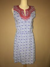 vineyard vines White Blue Embroidered Red Cotton Blend Summer Dress Sz. 4