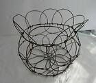 Vintage Antique  Primitive Rustic Collapsible Wire Egg Basket
