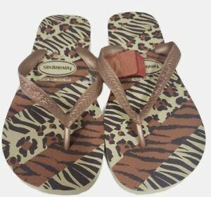 Women's Havaianas Flip Flip Sandals Animal Brown/Tan Size 9-10