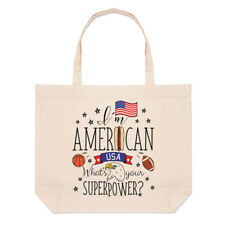 I'M Américain What's Your Superpower Grand Plage Sac Fourre-Tout -