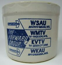 Vtg FORWARD GROUP Unusual Advertising Crock WSAU WMTV KVTV WKAU RADIO TV Station