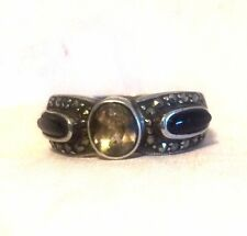 Vintage Sterling Silver Onyx Marcasites Ring CZ  Size 7   5g