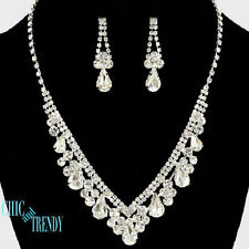 CLEARANCE CLEAR CRYSTAL WEDDING PROM FORMAL NECKLACE JEWELRY SET CHIC & TRENDY
