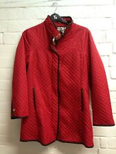 Ladies Red Barber Style Coat Size Small Dennis Basso