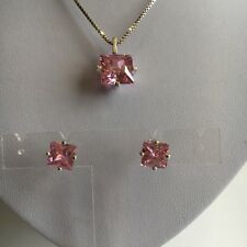 A Lovely Pink Created Gemstone Pendant & Stud Earrings Set in Solid 925 Silver