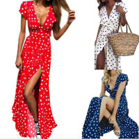 Women  Polka Dot Maxi Dress V-neck Long Cocktail Party  Dress