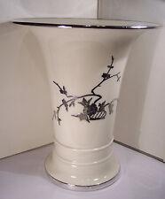 "Rare 9"" X 7"" Large Antique Lenox Beellek China Vase Sterling Overlay Chinese Fab"