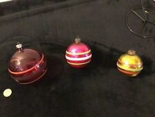 Vintage Unsilvered/other Glass Mica Shiny Brite Striped Christmas Tree Ornaments