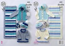 "King Cole 4889 Baby's Jacket Hat & Blanket DK Knitting Pattern Sizes 14-22"""