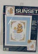 Sunset Stamped Cross Stitch Kit Sweet Prayer Baby Record 13087 Bear Angel 1996