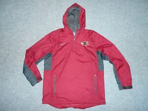NIKE 707185 WOVEN 1/4 ZIP MENS LARGE HOODED FALCON LOGO PULLOVER JACKET