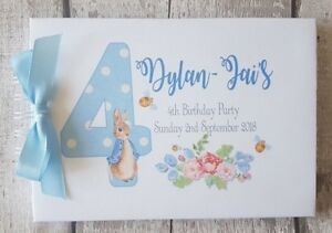 PERSONALISED PETER RABBIT - ANY NUMBER BIRTHDAY PARTY -  GUEST BOOK - SCRAPBOOK