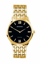 Sekonda Mens Black Dial Gold Plated Bracelet Watch 1611