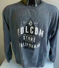 VOLCOM Crewneck Sweatshirt Gray/Black Volcom Logo on Front SZ XL Cotton Blend
