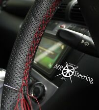 PERFORATED LEATHER STEERING WHEEL COVER FOR BMW E46 98-05 DARK RED DOUBLE STITCH
