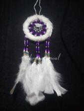 White Fur & Purple Beads Medium Size Native American Hand-Made Dream Catcher