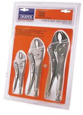 Draper 3 Piece Curved Jaw Self Grip Pliers Set 9006/3 14040
