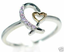 Solid 925 Sterling Breast Cancer Awareness Pink Ribbon CZ & Heart Ring Size-7 '